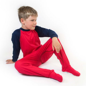 Seenin_zip_back_footed_sleepsuit_with_closed_feet_red_pajamas_for_kids_and_older_children_with_special_needs
