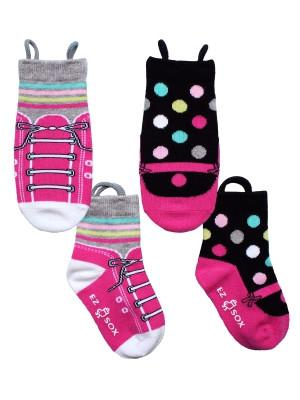 Ez_Socks_for_special_needs_toddlers_children_seamless_toes_anti_slip_pull_up_loops_pink_black_spot_girls