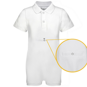 KayCey_Adaptive_clothing_for_older_children_with_special_needs_Polo_with_Tube_Access_White_Front