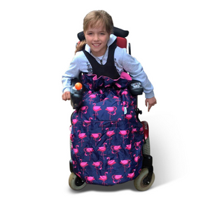 BundleBean_wheelchair_cosy_cover_kids_flamingo_fleece_lined_waterproof_fits_special_needs_buggy