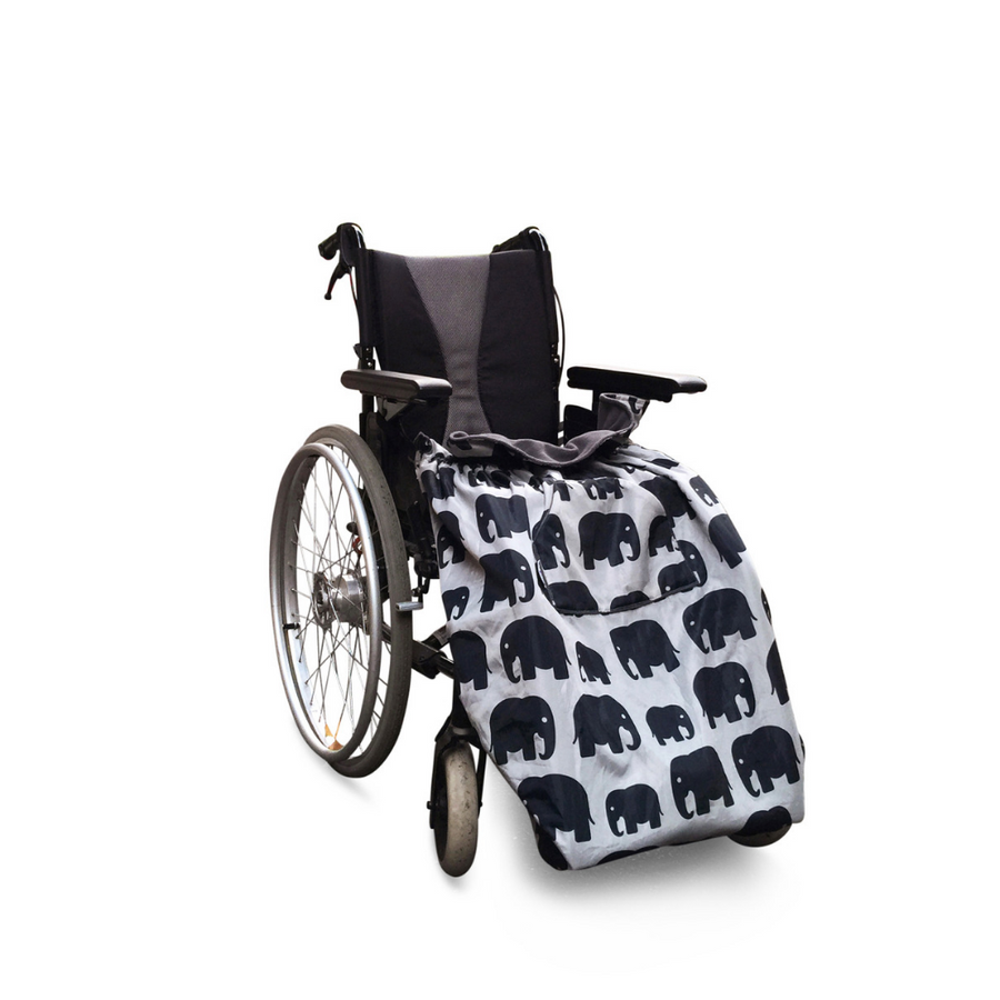 BundleBean_wheelchair_cosy_cover_kids_elephants_fleece_lined_waterproof_universal_fit