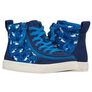 Billy Footwear (Kids) - High Top Blue Sharks Canvas Shoes