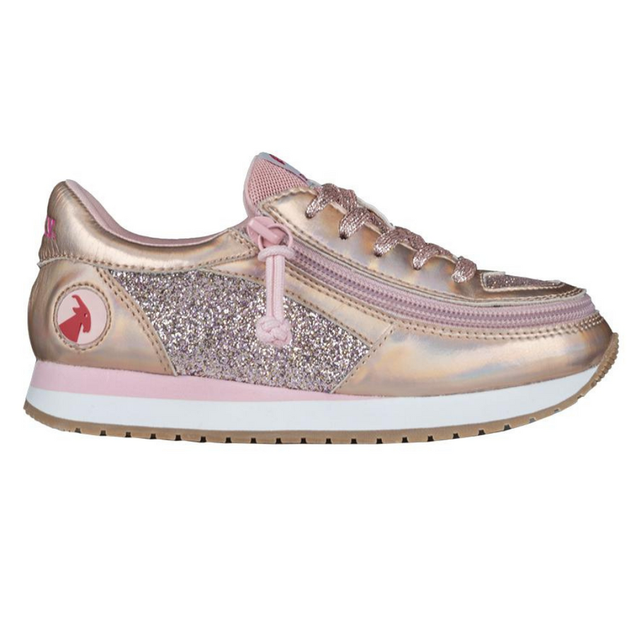 billy_footwear_adaptive_shoes_for_children_special_kids_company_billy_kids_rose_gold_metallic_trainers_front