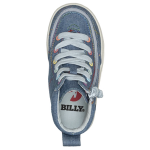 billy_footwear_toddler_kids_denim_rainbow_thread_colour_high_top_canvas_shoe_1000x1000_special_needs_shoes_top.