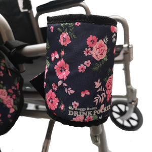 My_Buggy_Buddy_universal_floral_thermal_bottle_cup_holder_velcro_fastening_to_wheelchair