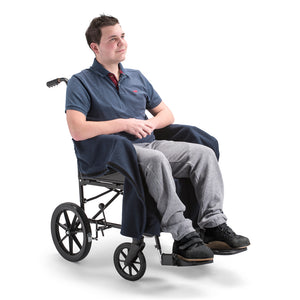nicosy_fleece_cover_for_wheelchair_man_wearing_navy_cover_open