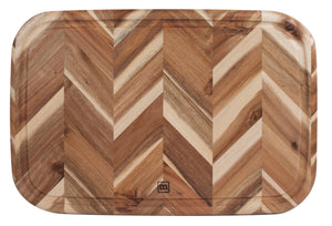 "Madeira Herringbone Acacia Board with Juice Groove 13"" x 19"""