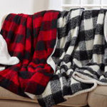 Faux Mohair Buffalo Plaid & Sherpa Throw