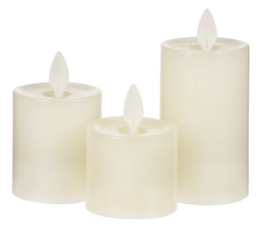 LED Ivory Resin Pillar Candles