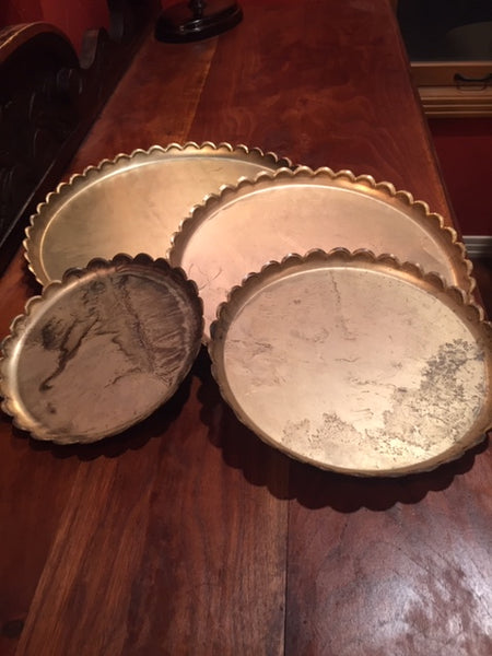 Antique Brass Round Trays Asst.