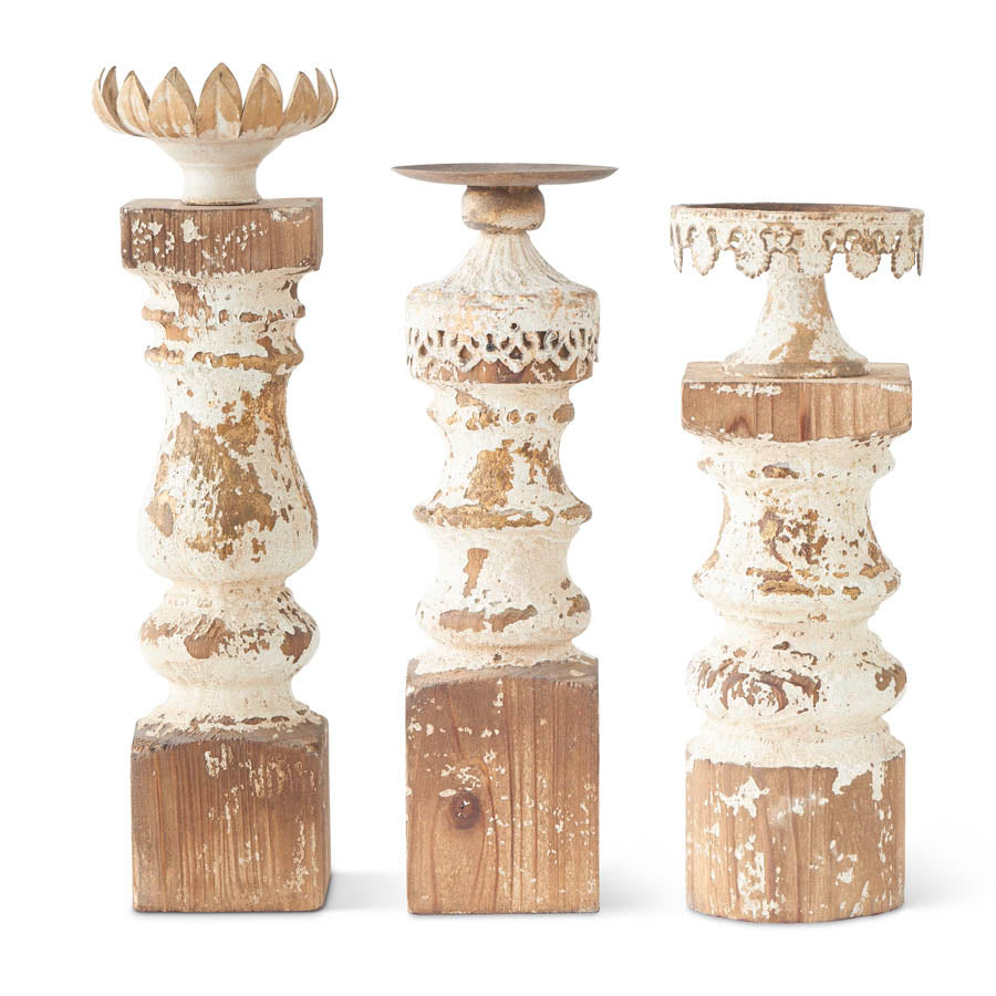 Metal & Whitewash Wood Candleholder