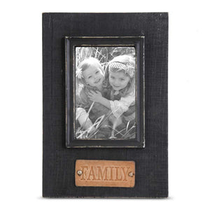 """Family"" in Leather  Tag Wooden Frame"