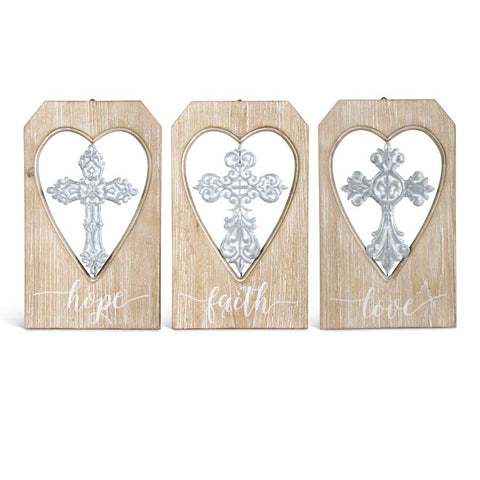 Wood & Metal Cross in Heart