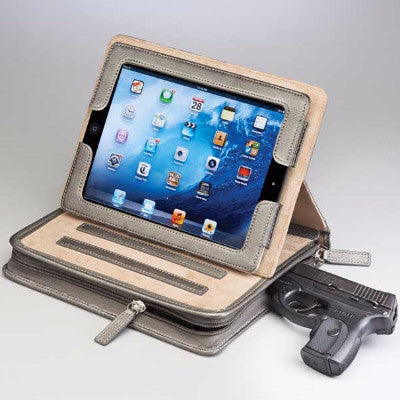 Leather Concealed Carry iPad Case with gun