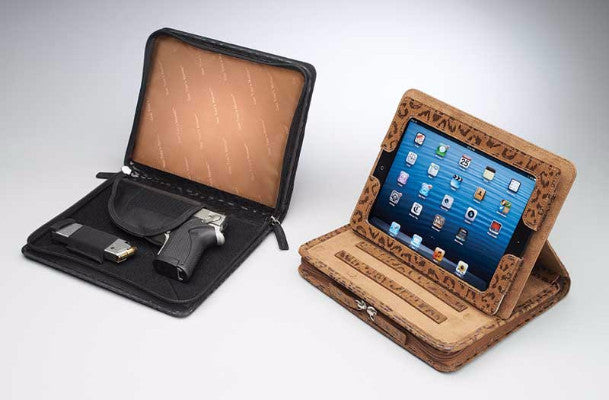 Open iPad Concealed Carry Leopard Case