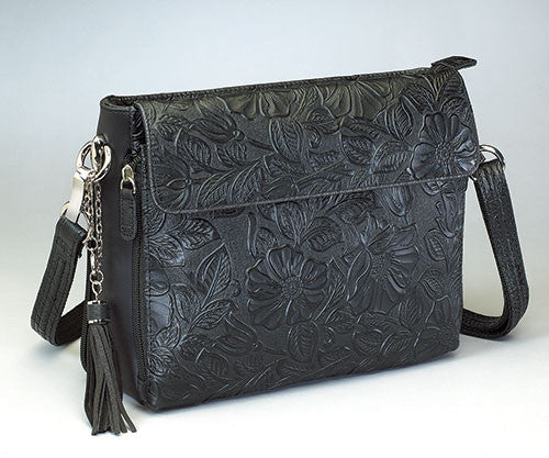 Black Tooled Cowhide Concealed Carry Bag