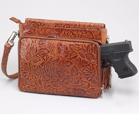 Brown tooled leather purse