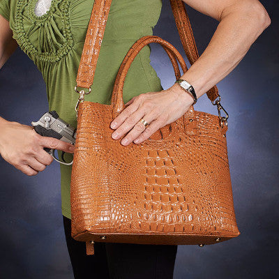 Crocodile Tote Bag with gun