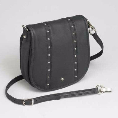 Chrome Hardware Leather Concealed Carry Handbag