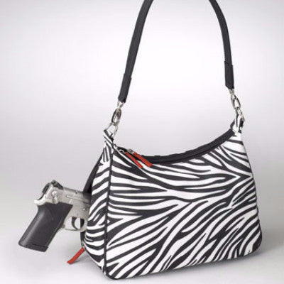 Cute Zebra Print Concealed Carry Hobo Handbag