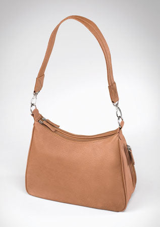 Saddle Tan Hobo Handbag - Concealed Carry