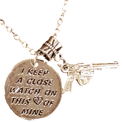 """I Keep Close Watch"" Gun Charm Necklace"