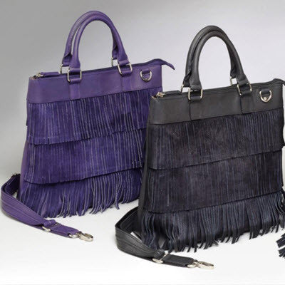 Leather and Suede Fringe Tote