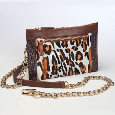 Leopard Print Chained Wallet