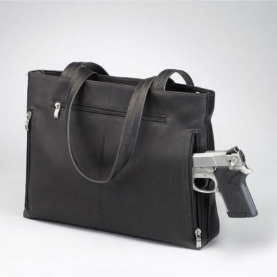 Large Leather Concealed Carry Portfolio Bag