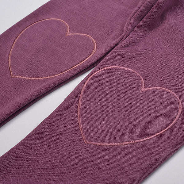 WoolLand Norway - Alesund Baby Girl Pants Raspberry (heart detail)