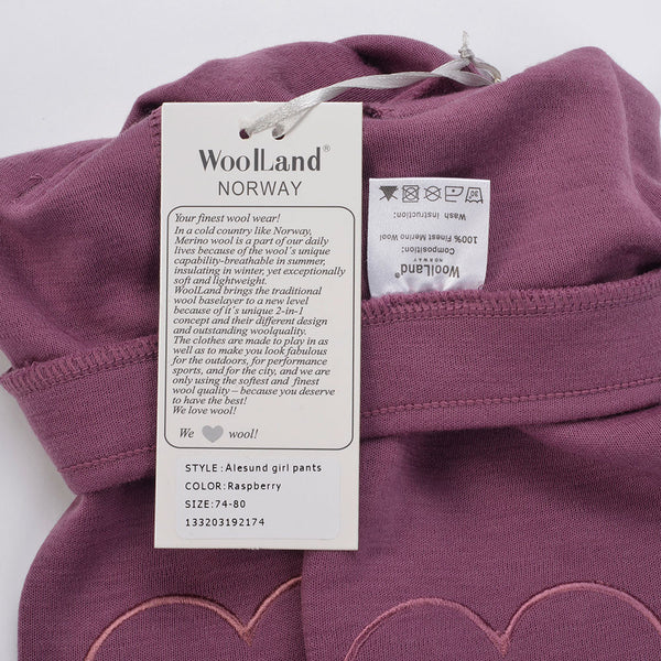 WoolLand Norway - Alesund Baby Girl Pants Raspberry (label close up)