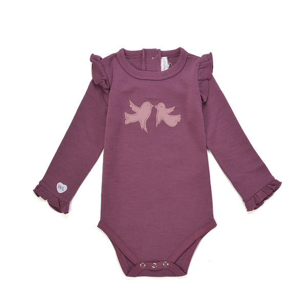 WoolLand Norway - Alesund Merino Wool Baby Grow Raspberry (Front)