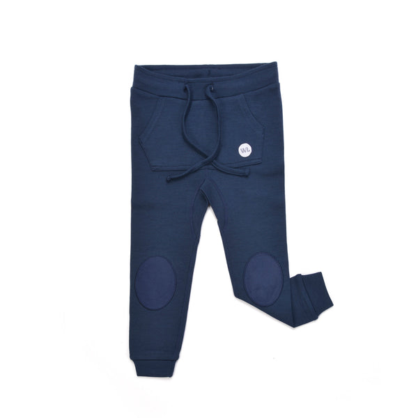 WoolLand Norway - Bergen Merino Wool Baby Pants with Moose Night Blue (front)