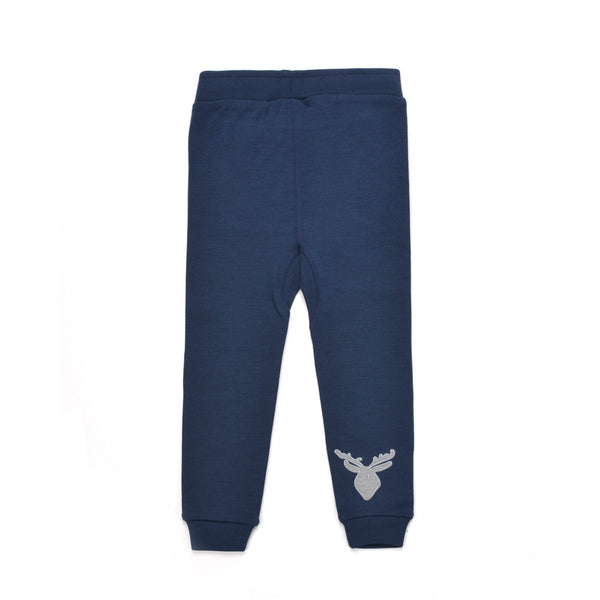 WoolLand Norway - Bergen Merino Wool Baby Pants with Moose Night Blue (back)