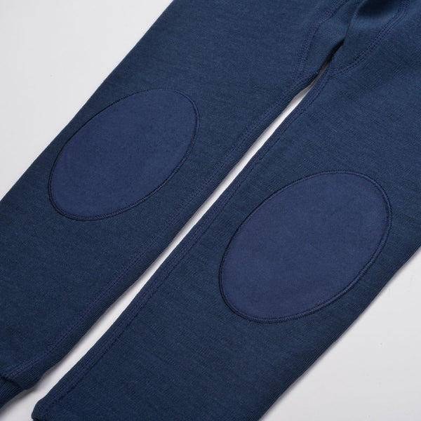 WoolLand Norway - Bergen Merino Wool Baby Pants with Moose Night Blue (knee patch detail)