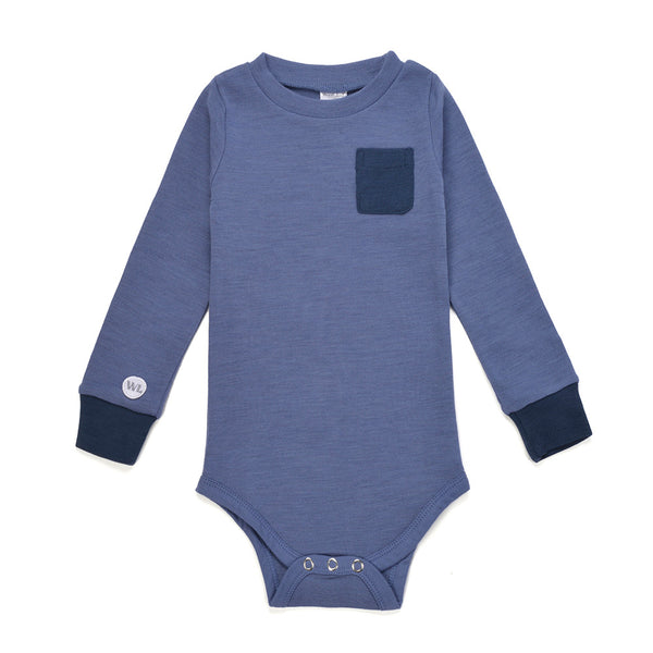 Bergen WoolLand Norway - Merino Wool Baby Grow Heavenly Blue (Front)
