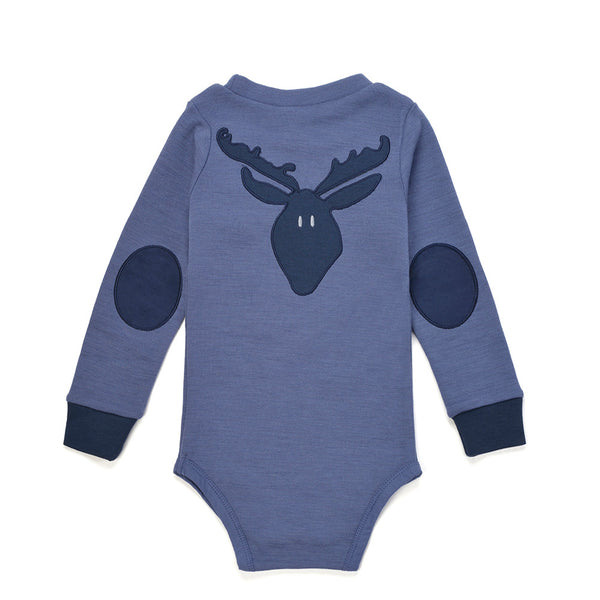 Bergen WoolLand Norway - Merino Wool Baby Grow Heavenly Blue (Back)