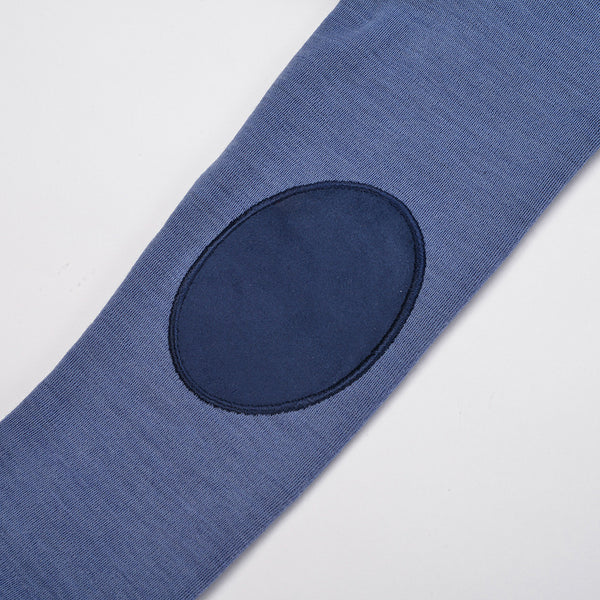 Bergen WoolLand Norway - Merino Wool Baby Grow Heavenly Blue (sleeve elbow patch detail)