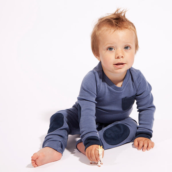 Bergen WoolLand Norway - Merino Wool Baby Grow Heavenly Blue Miljo