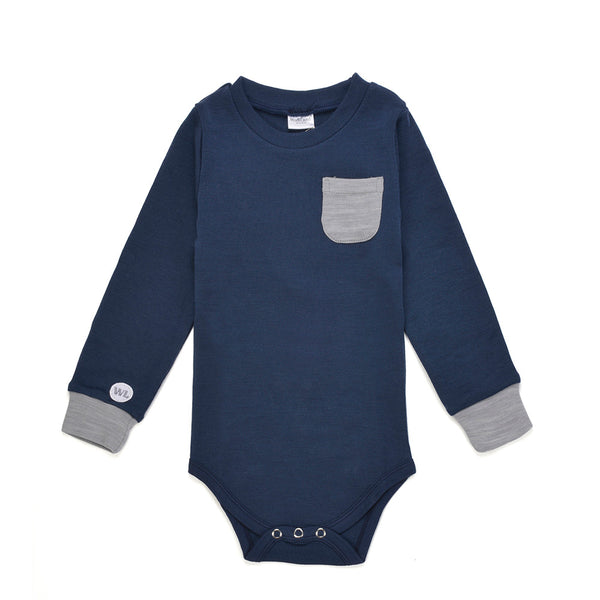 Bergen WoolLand Norway - Merino Wool Baby Grow Night Blue (Front)
