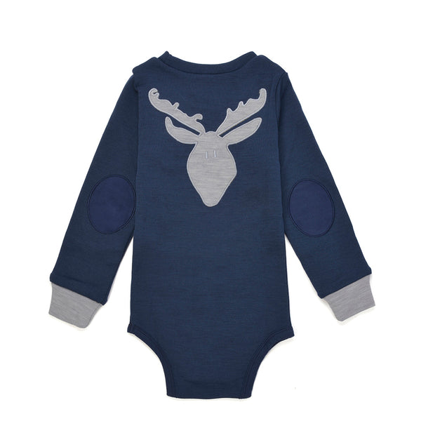 Bergen WoolLand Norway - Merino Wool Baby Grow Night Blue (Back)