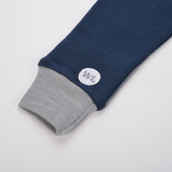 Bergen WoolLand Norway - Merino Wool Baby Grow Night Blue (sleeve logo detail)