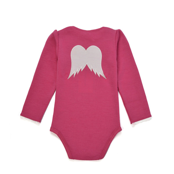 WoolLand Norway - Bergen Merino Wool Baby Grow Berry (Back)