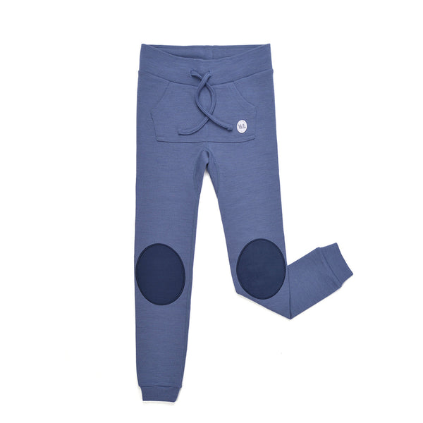 WoolLand Norway - Bergen Merino Wool Baby Pants with Moose - Heavenly Blue (front)