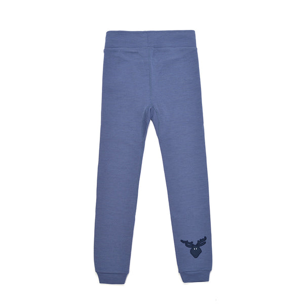 WoolLand Norway - Bergen Merino Wool Baby Pants with Moose - Heavenly Blue (back)