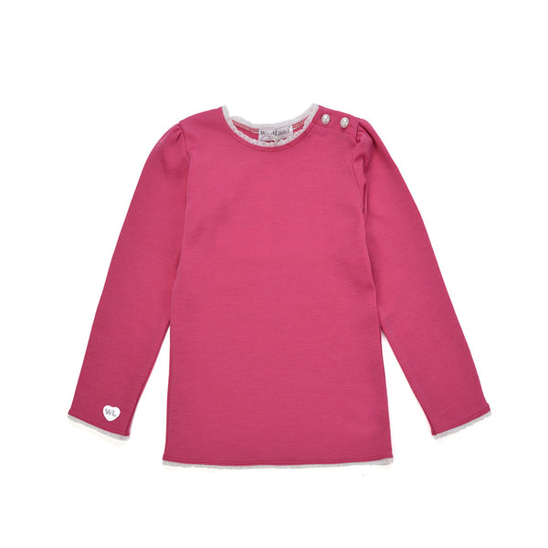 WoolLand Norway - Bergen Merino Wool Girls Jumper Berry (front)