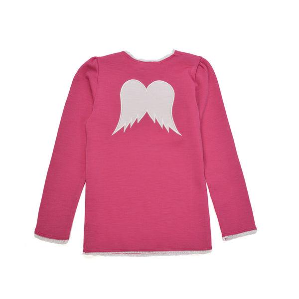 WoolLand Norway - Bergen Merino Wool Girls Jumper Berry (back)
