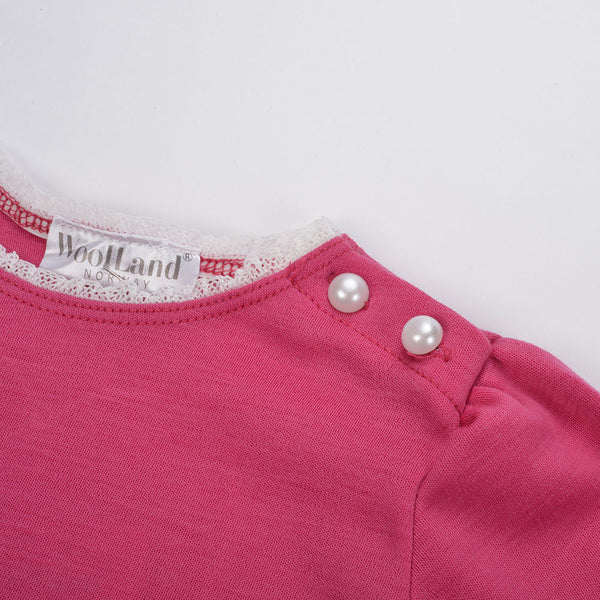 WoolLand Norway - Bergen Merino Wool Girls Jumper Berry (collar and button detail)