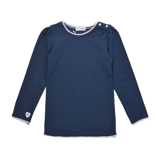 WoolLand Norway - Bergen Merino Wool Girls Jumper Night Blue (front)