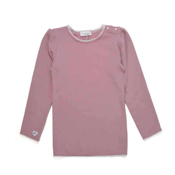 WoolLand Norway - Bergen Merino Wool Girls Jumper Pink Blush (front)